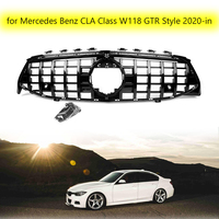 Car Front Grill ABS Replacement Racing Grills for Mercedes Benz New CLA Class W118 GTR Style 2020 in Car Bumper Mesh Grilles