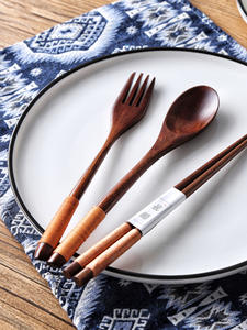 Wood Tableware Cutlery-Sets Dinnerware-Suit Gifts-Set Cloth-Pack Travel with Environmental