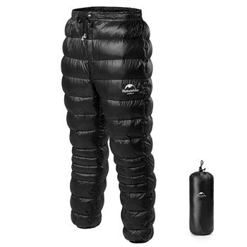 Naturehike Unisex wiatroodporny biały puch gęsi spodnie Camping piesze wycieczki narciarstwo Trekking wodoodporne zimowe ciepłe spodnie termiczne M-2XL tanie i dobre opinie CN (pochodzenie) WOMEN 250g Wiatroszczelna Konwencjonalne zipper 100 COTTON Support Winter Thermal Warm Trousers