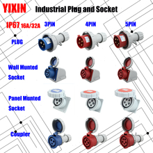 цена на NEW Industrial Plug  Socket 16A 32A 3 pin 4 pin 5 pin ip67 Wall Mounted Socket Panel Mounted Coupler Waterproof 220V 380V 415V
