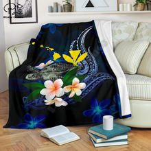 Черепаха в полинезийском стиле с цветами Плюмерия 3d одеяло