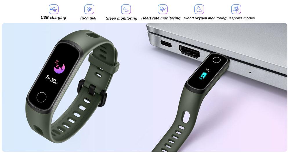 H4f54e962075d4e578888b3229b5b78b3X Honor Band 5i Wristband Smart Bracelet USB Charging Music Control Blood Oxygen Monitoring Sports Fitness Bracelet Running Tracke