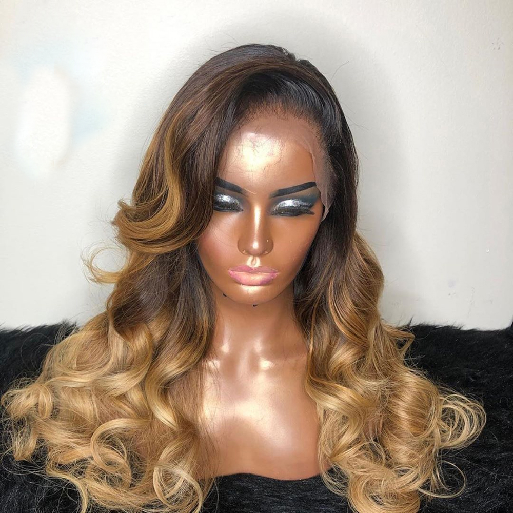 Eversilky Ombre Blonde Brown 13x4 Lace Front Wig With Baby Hair 3 Tones Color Brazilian Body Wave Wig Pre Plucked Glueless Remy