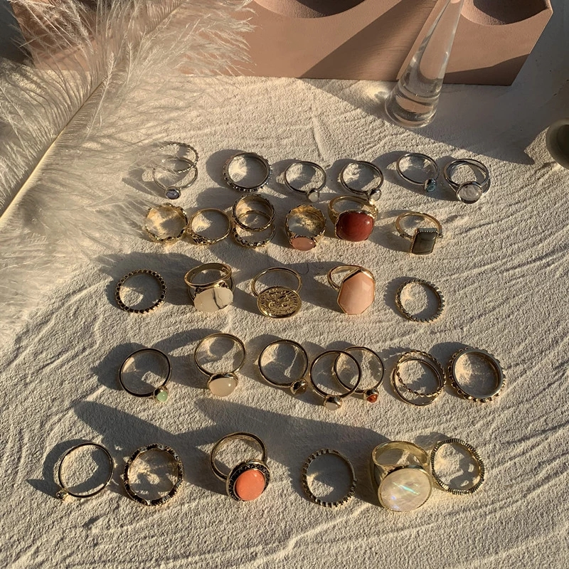 2021 Vintage Summer 8Pcs/Set Fairy Friends Colorful Stone Metalic Fashion Finger Rings Korea Hit Rings for Women Girl Party