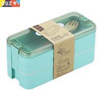Tripla camada de trigo talo bento caixa material saudável portátil escondido alça lancheira dinnerware lancheira|Lancheiras| |  -