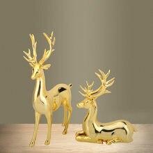 1 conjunto de ouro resina veado estatueta fada jardim estátua em miniatura escultura abstrata casa sala estar decoração artesanato moderno desktop