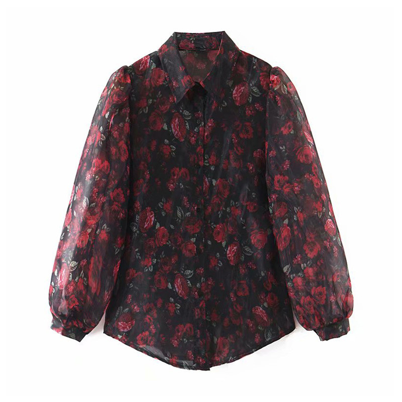 Women Elegant Organza Floral Print Blouse Lapel Long Sleeve See Throughfemale Stylish Office Wear Shirts Chic Tops Blusas