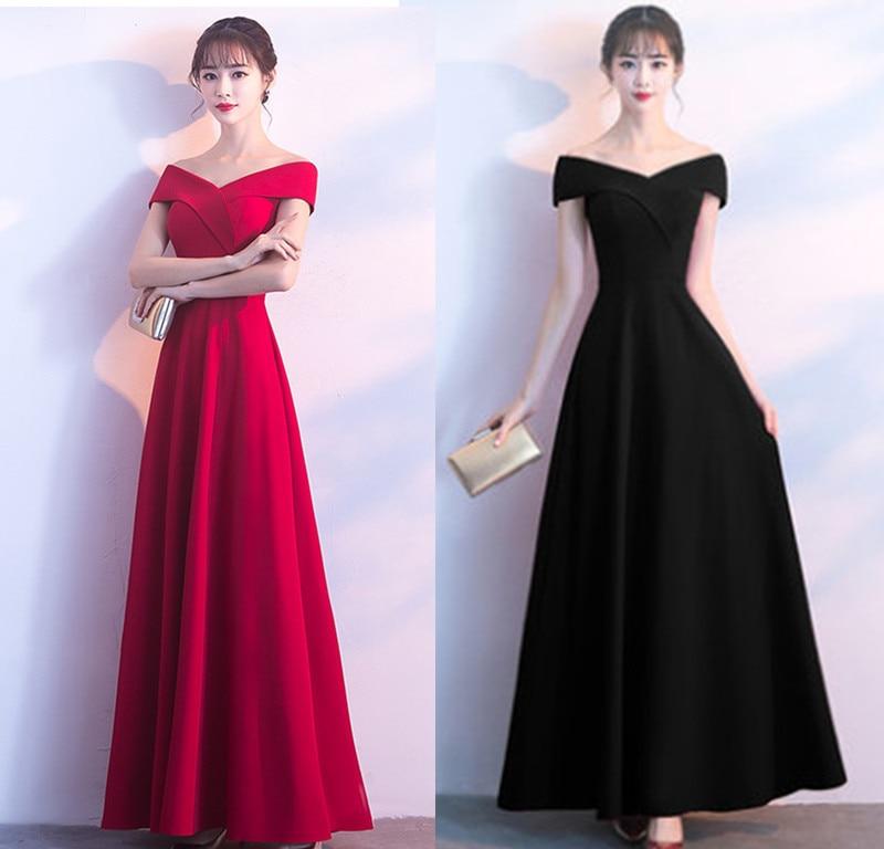 Bride Dress For Toast Marriage Huimen Banquet Evening Dress Off-the-Shoulder Long Dress Long Skirts