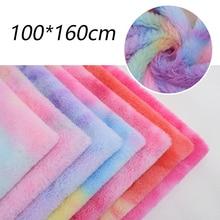Plush-Fur-Fabric Rabbit Artificial Clothes-Bag-Toys Rainbow-Gradient Sewing-Patchwork