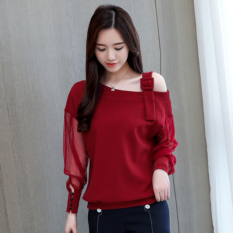 Spring Long Sleeve Shirt Women Fashion Woman Blouses 2021 Sexy Off Shoulder Top Solid Women Blouse Shirt Clothing Female 1224 40 3