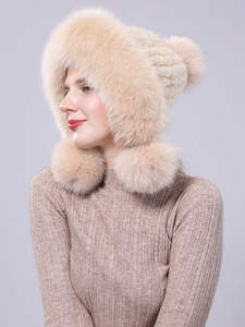 Hat with Russian-Hat Real Protective-Cap Mink-Fur Velvet Knit Winter Women for Earmuffs