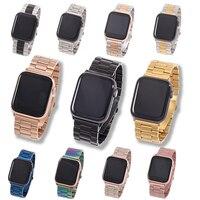 Opaska na zegarek Apple Watch 4 5 42mm 38mm 1/2/3 metalowa bransoleta ze stali nierdzewnej Watchband pasek do iwatch seria 4 5 44mm 40mm