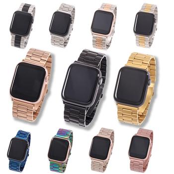 Opaska na Apple Watch6 5 4 3 2 1 42mm 38mm 40MM 44MM metalowa bransoleta ze stali nierdzewnej Watchband pasek na akcesoria serii iWatch tanie i dobre opinie Foloy CN (pochodzenie) 22 cm Od zegarków STAINLESS STEEL Nowy z metkami Stainless Steel Band for apple watch