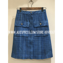 2020 women's retro autumn winter skirts women's mini skirts blue Tweed skirts Hi