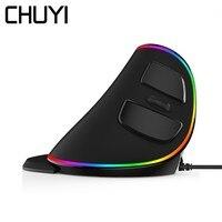 CHUYI M618 Plus ratón ergonómico Vertical RGB luz ratón para juegos de ordenador 800/1200/1600/2400/4000 PPP ratón óptico con cable