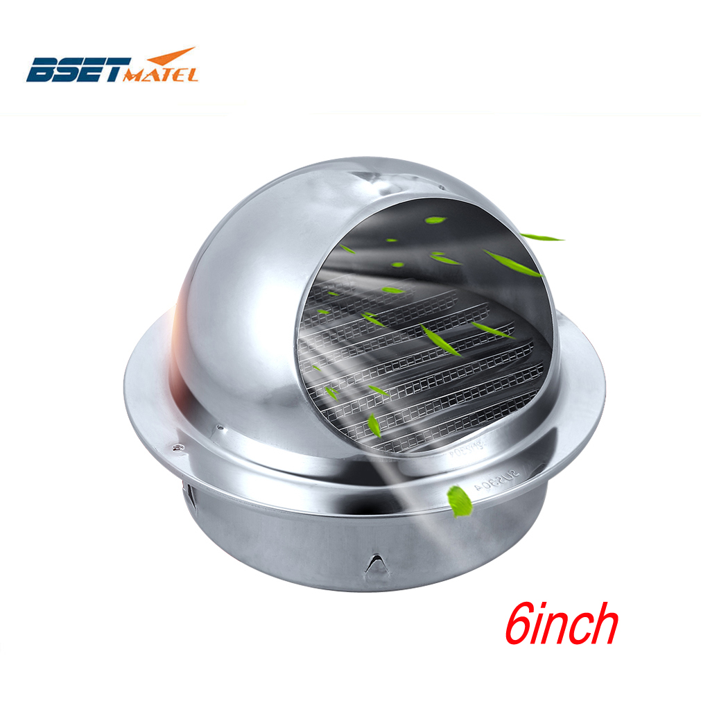 150mm Stainless Steel 304 Wall Ceiling Air Vent Grille Ducting Ventilation Exhaust Cover Extractor Outlet Louvres Hemisphere Cap
