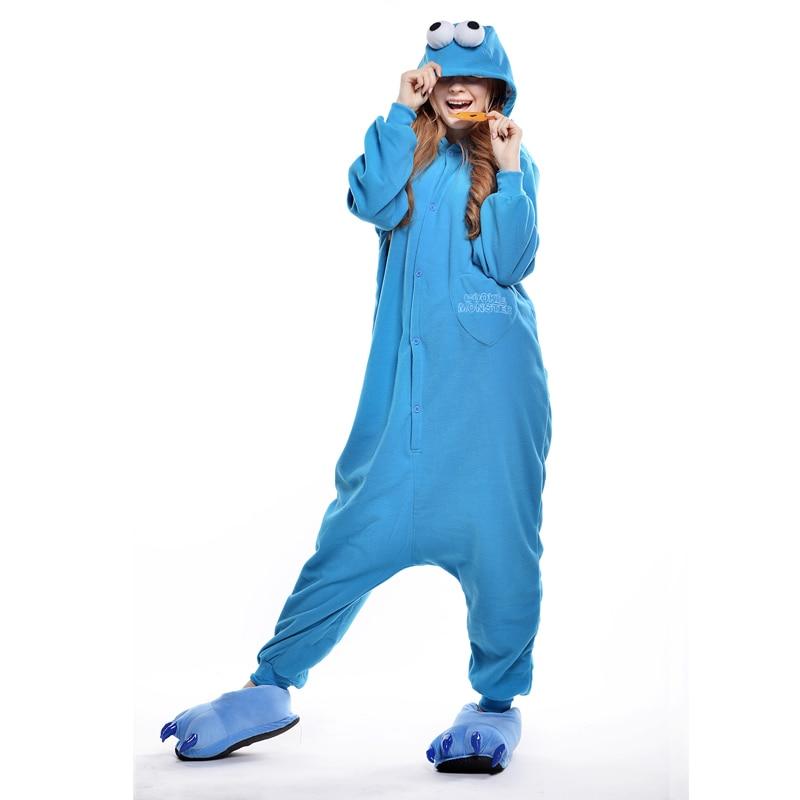 Blue Elmo Unisex Adult One-Piece Pajamas Cosplay Onesies Cartoon One-piece Animal Sleepwear for Pyjamas Christmas Costume