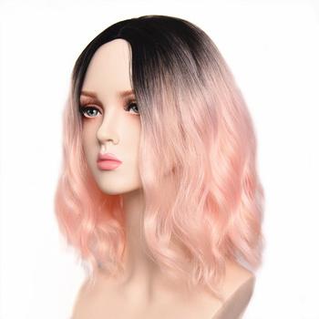 PinkWig krótkie peruki z kręconymi włosami dla kobiet naturalny wygląd czarne i różowe peruki 14 #8221 peruka syntetyczna na imprezę Cosplay Halloween peruki dla kobiet tanie i dobre opinie MAGNIFIQUE Wysokiej Temperatury Włókna long Falista 1 sztuka tylko