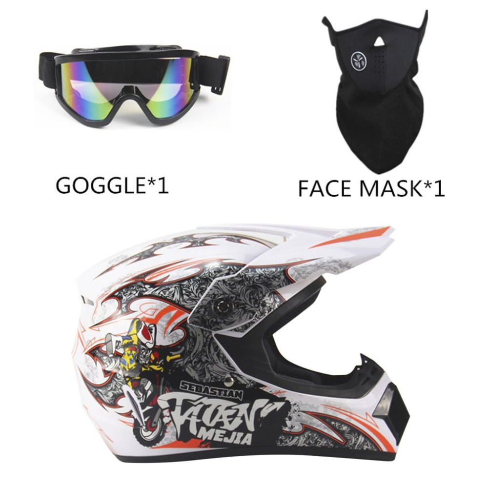 New Unique 3Pcs Motorcycle Helmet Full Face Racing Motorcycle Safety Breathable Unisex Lightweight ABS Shell Motorbike Helmet