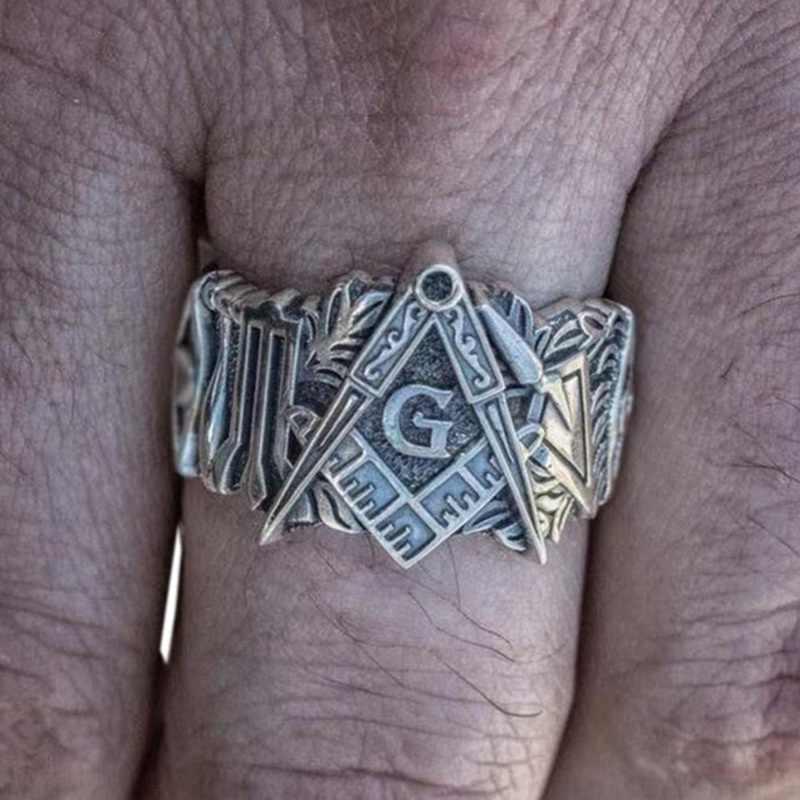 บุคลิกภาพ VINTAGE Freemason แหวนผู้ชาย Masonic Symbol แหวนความสามัคคี Knights Templar เครื่องประดับ Punk BIKER Gothic แหวนผู้ชาย
