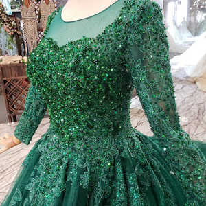 Image 5 - HTL257 Green Cheap Evening Dresses 2020 With Train Custom Size O Neck Long Sleeves A Line Mother Of Bride