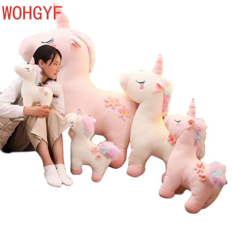 90/130cm Jumbo Rosa Weiß Einhorn Plüsch Spielzeug Riesen Einhorn Stofftier Pferd Unicornio Peluche Puppe Geschenk Kinder foto Requisiten