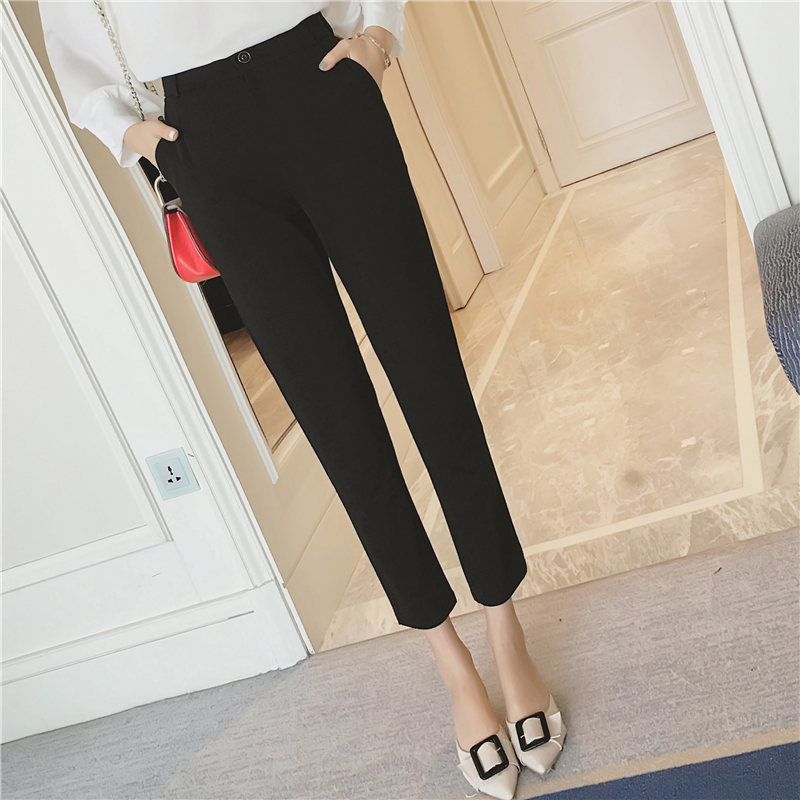 Pants Trousers Wear Summer Woman Slim Nine Leisure-Time-Suit Bound Code Easy-Will Hallen