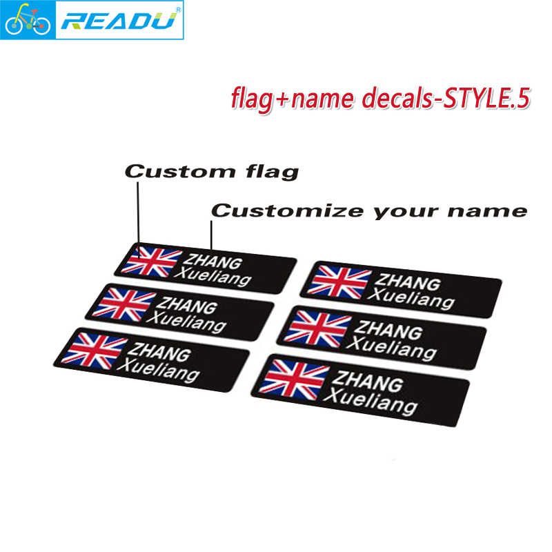 Personalised Named Flag Cycling Frame Bike Stickers 12mm