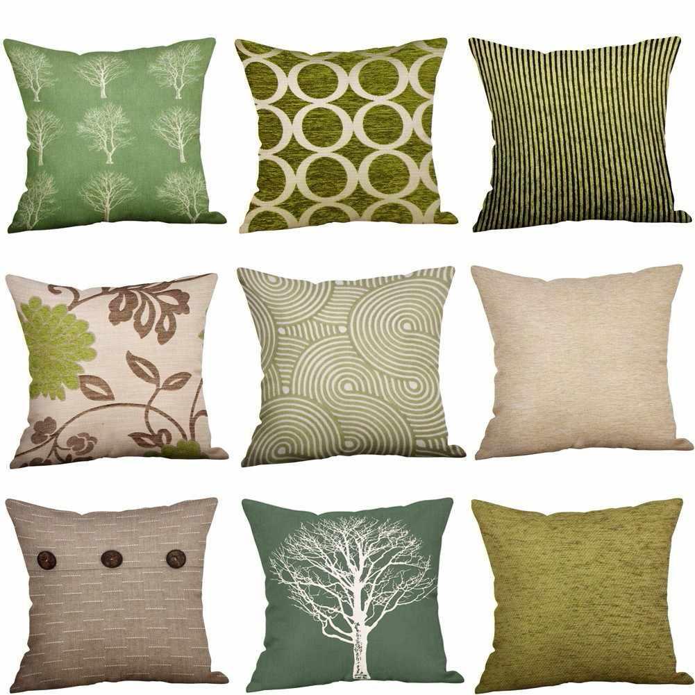 Зеленый лайм натуральный крем хлопок лен наволочка чехол для дивана подушки