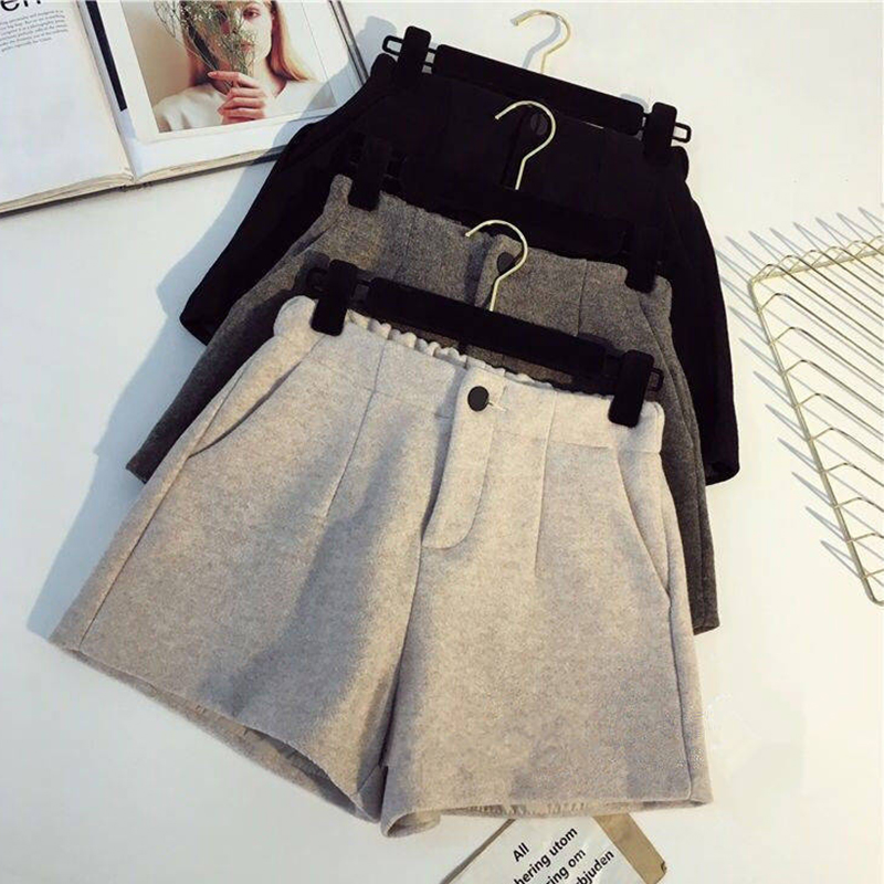 Autumn Winter Elastic Waist Warm Cotton Shorts Women Solid Button Simple Width-leg Shorts Plus Size Female Fashion Korean Shorts
