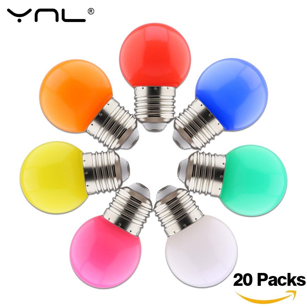 20pcs Bombillas E27 LED Bulb 220V G45 Colorful Lampada RGB LED Light SMD 2835 Colorful Bulbs Flashlight Lamparas LED Lamp