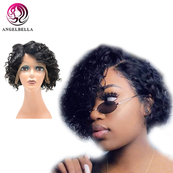 цены short part lace wig for black women deep wave natural black side long parting cheap human hair wigs