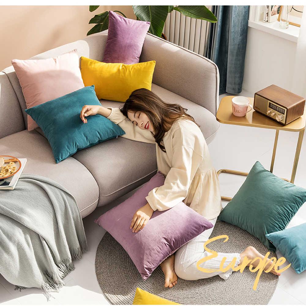 Biru Sarung Bantal Pink Kuning Lembut Beludru Sarung Bantal Hitam Putih Bantal Case Rumah Dekoratif Sofa Melempar Bantal Ruang Tamu