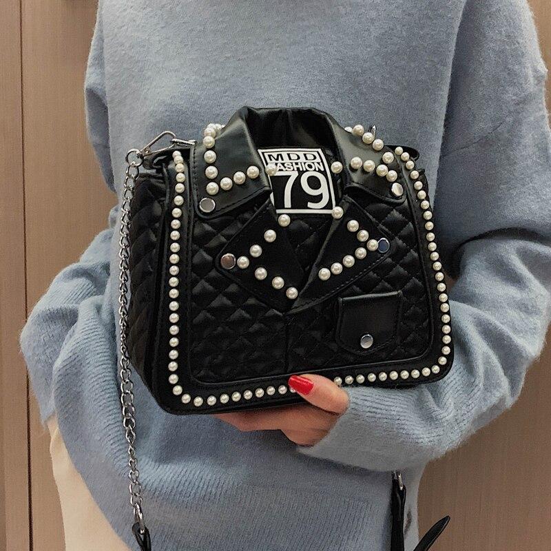 Image 2 - New Arrival Pearl Jacket Design Pu Leather Women Shoulder Bag Tote Bag Crossbody Bag Purses and Handbag Ladies Messenger Bag-in Shoulder Bags from Luggage & Bags
