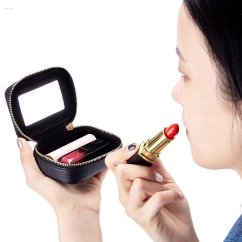 Girl's Lipstick Bag Leather Female Cosmetic Bag Chic Earring Bag Mirror Lady Cosmetic Case Small Mini Makeup Bag