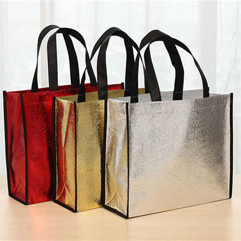 Faltbare Laser Glitter Einkaufstasche Reusable Eco Tote Wasserdicht Reise Lagerung Taschen Weibliche Handtasche Lebensmittel Leinwand Tote Eco Tasche