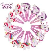 Nishine Glitter Unicorn Hairclips Cartoon Animal Hair Clips Cute Plastic Hairpins Kids Headwear Baby Girls Hair Accessories