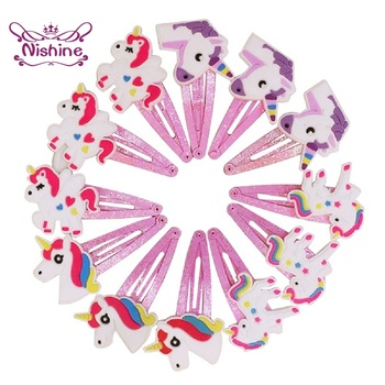Nishine Glitter Unicorn Hairclips Cartoon Animal Hair Clips Cute Plastic Hairpins Kids Headwear Baby Girls Accessories