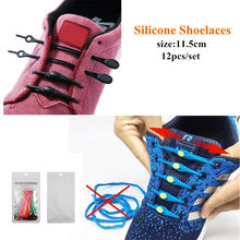 12pcs Silicone Shoelaces Round buckle Elastic Shoe Laces Special No Tie Shoelace For Men Women All Sneakers Fit Strap Shoe Lace(China)
