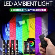 3 управления Светодиодный светильник для ног автомобиля с usb