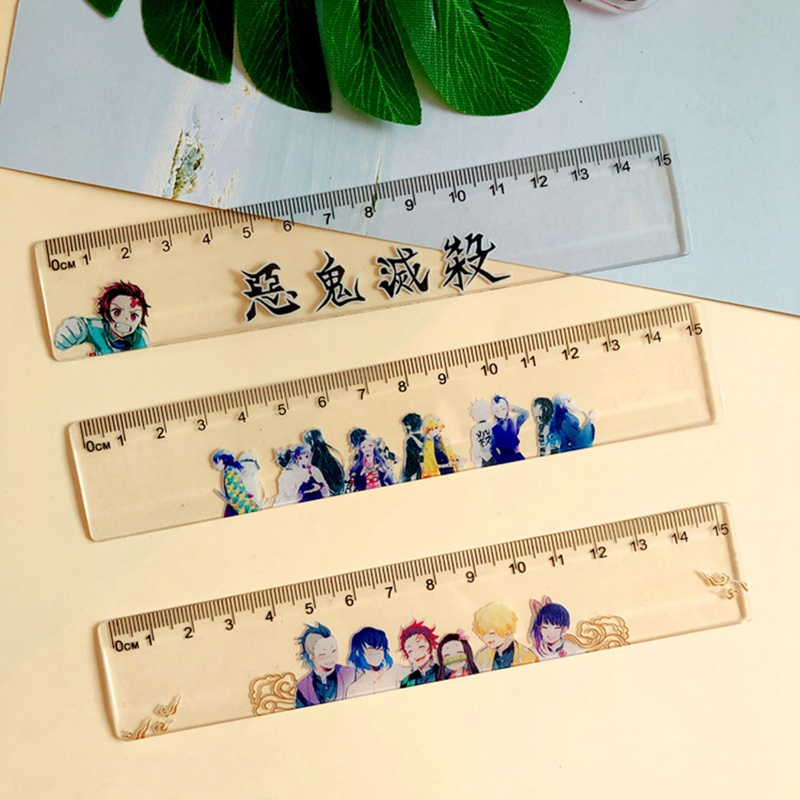 Anime Demon Slayer: Kimetsu No Yaiba Kamado Tanjirou Cosplay Platic Ruler Measuring Scale Students Cartoon Measure Ruler Gift