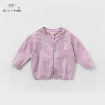 DBM13513 dave bella spring infant baby girls fashion butterfly cardigan kids toddler coat children cute knitted sweater image