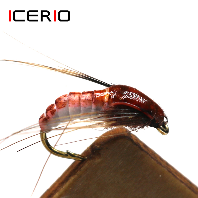 ICERIO 6PCS Realistic Nymph Scud Fly For Trout Fishing Fly Tying Artificial Lure Baits #12