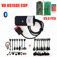 Full set car truck cables for New vci vd ds150e cdp for delphis with Bluetooth 2016.R0/2015.r3 keygen obd obd2 scanner with box