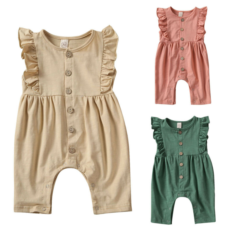 Newborn Infant Baby Girl Clothes Ruffle Romper Jumpsuit One-Piece Home Outfit Newborn Jumpsuit Kids Clothing Solid Color Romper