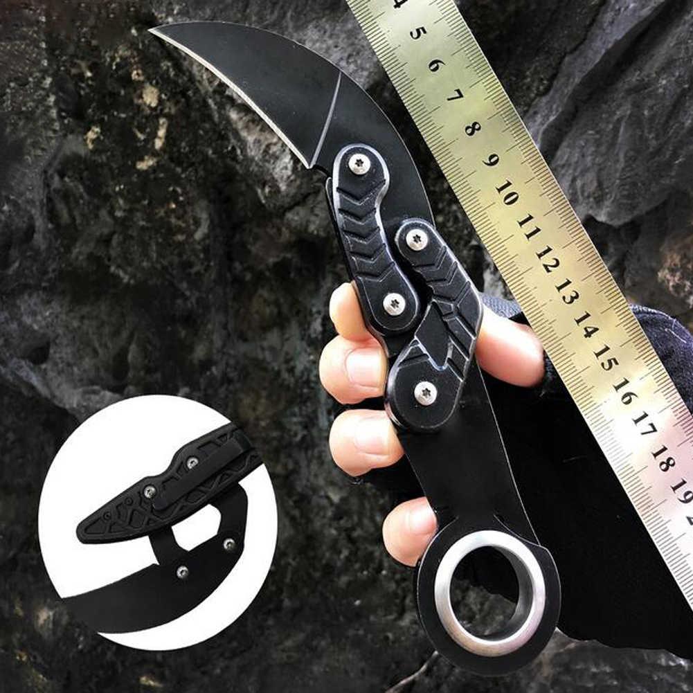 Promithi Morphing Karambit bıçak kamp EDC açık aracı çok fonksiyonlu Survival katlanır pençe bıçak kemer klipsi ile