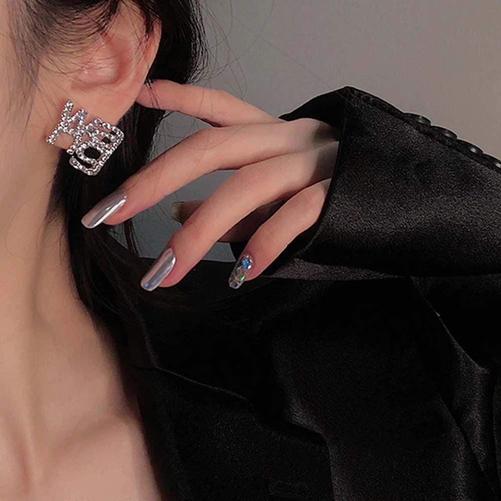 Модные сапоги в панковском стиле, модное кольцо с украшением в виде кристаллов Ван письмо серьги Стразы букв длинные висячие серьги для жен...