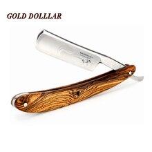 Бритва для бритья из натурального дерева GOLD доллар-прямая бритва из углеродистой стали для мужчин