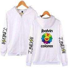 Venda quente j balvin hoodie com zíper hoodies das mulheres dos homens com capuz outono inverno moletom álbum cores moda j balvin roupas