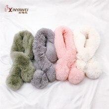 Качество изготовления, хорошее разнообразие, горячая распродажа, шарф из искусственного кроличьего меха для мальчиков и девочек, зимний теплый детский меховой шарф на заказ